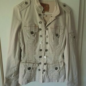 Anthropologie Twill 22 Full Button Utility Jacket